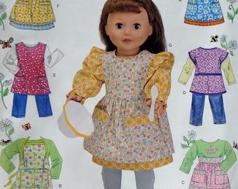 "Simplicity 18"" Doll Clothes Sewing Pattern 0634 UNCUT - Fits American Girl Our Generation Carpatina Gotz Dolls - Dress Jumper Shirt Pants"