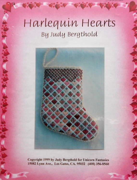Judy Bergthold HARLEQUIN HEARTS STOCKING By Unicorn Fantasies - Needlepoint Pattern & Instructions Project Guide