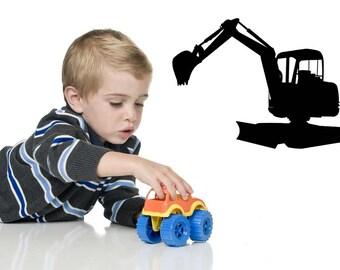 Construction Decals, Construction Decor, Excavator, Wall Decal, Boys Room Decor, Vinyl Sticker, Playroom Decor, Kid's Bedroom Decor