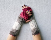 Fingerless mittens - ruby red pink white taupe cute arm warmers