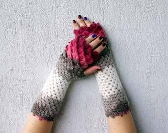 Fingerless mittens - ruby red pink white taupe cute arm warmers Dragons gloves Mermaid gloves Mareshop