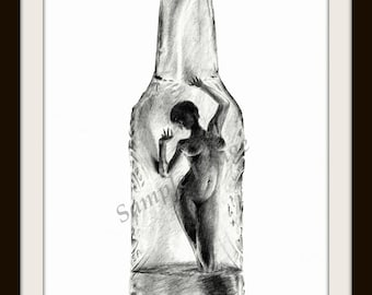 Drinking to remember - Nude Erotic LARGE A4 A3 or A2 Ltd Ed'n Print of pencil drawing of naked female from Russellart.