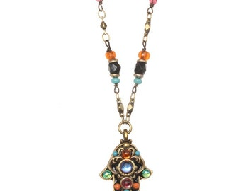 Michal Golan Colorful Small Hamsa Necklace on Beaded Chain