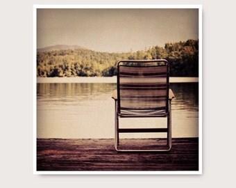 Dock Photo, Lake Photography, peaceful serene lake, brown, wall art,  Squam Lake NH,  lake house decor, water, lake print, lake art