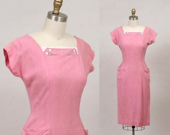 1940's sheath dress in strawberry pink