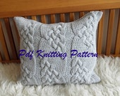 PDF KNITTING PATTERN Cable knit pillow cover No.1