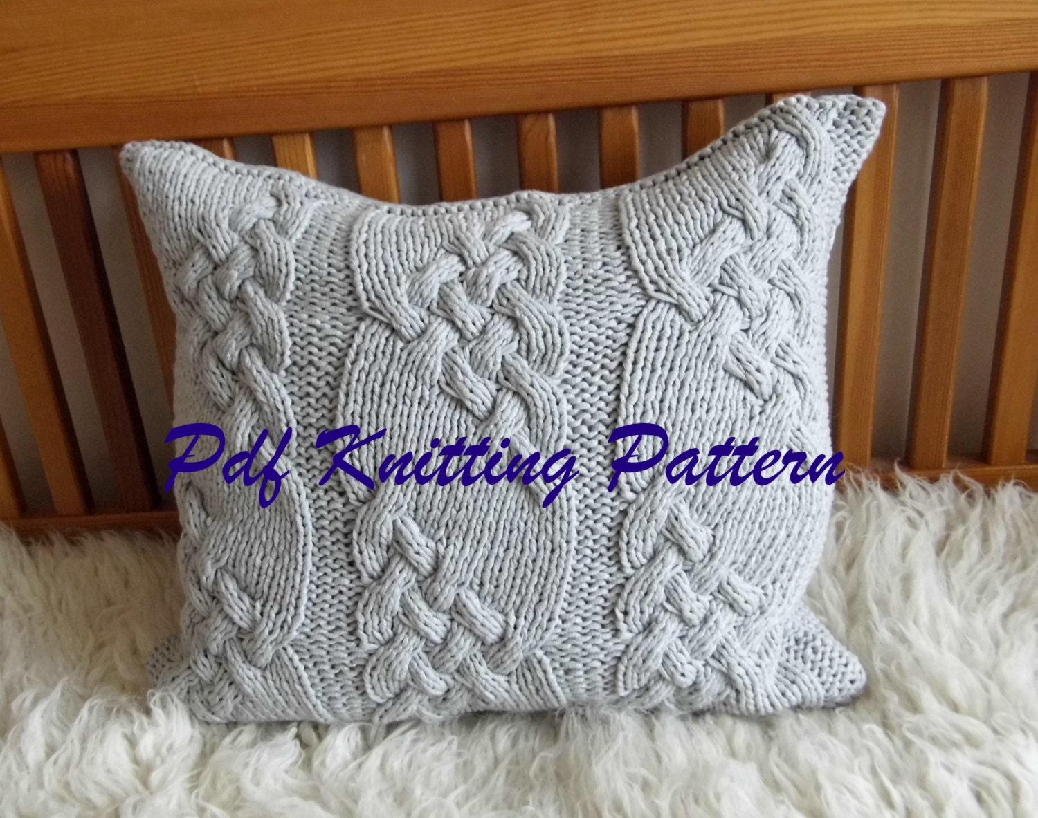 PDF KNITTING PATTERN Cable knit pillow cover No.1 20x20