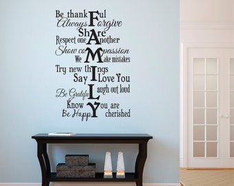 Family Wall Decal Vinyl Lettering - Family Rules Vinyl Wall Decal - Famliy Subway Vinyl Wall Art (Larger Size)