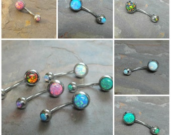 Belly Button Rings Fire Opal Belly Button Jewelry