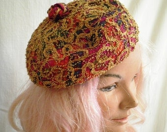 Vintage 1960s Hat  Pillbox Hat  Fascinator Gypsy  Multi Color Pillbox Hat with Lots of Gold Braid