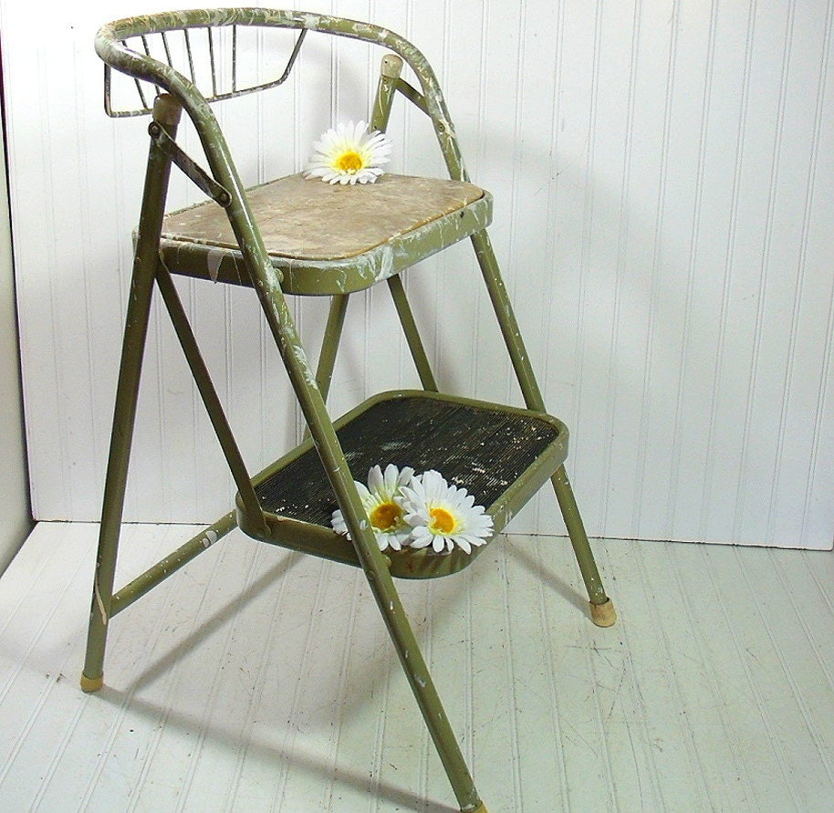 Vintage Sage Enamel Metal Folding Step Stool Retro Avocado