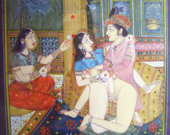Vintage Mughal painting miniature Hand Painted India Erotica Art Piece
