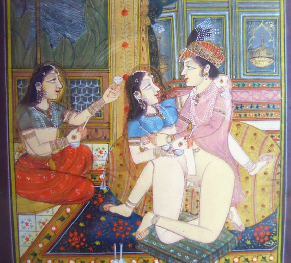 Hand painted erotic indian artwork