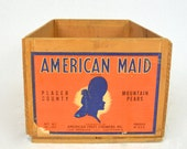 1920's American Maid Mountain Pears Wood Fruit Crate with Label in Orange and Blue