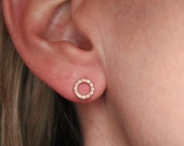 Solid 14k Gold Pave Diamond Circle Earrings - Hollow Circle Earrings - Diamond Earrings - Pave Circles