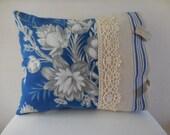 C. 1850 Antique French Toile Blue Linen Stripe Lace Trim Pillow  (1301)