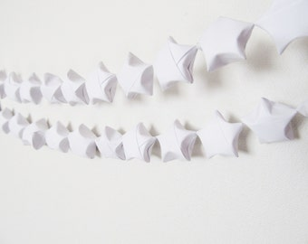 Origami Star Garland, White, Party Decor, Home Decor, Nursery, Office, Dorm, Holiday, Christmas