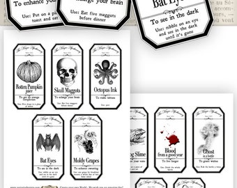 15 Large Halloween Apothecary Labels 4.5 x 2.23 inch eco save ink Jar Labels Tags Halloween printable digital collage sheet VDLAHA0905