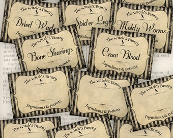 Witch's Pantry Labels Halloween labels printable paper craft art hobby crafting scrapbooking instant download digital collage sheet - VD0541