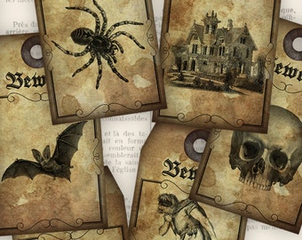 Halloween Tags printable scrapbooking paper crafting hobby bat witch skull house scary instant download digital collage sheet - VDTAHA0843