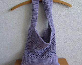 Cotton Crochet Tote Bag in Lovely Lilac - Eco-Friendly