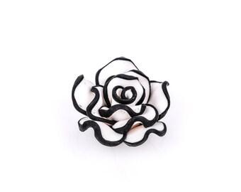 2 Medium BLACK AND WHITE Polymer Clay Rose Flower Beads  pol0013