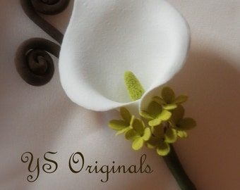 30% off Ready to Ship Chartreuse Green Calla Lilly Boutonniere