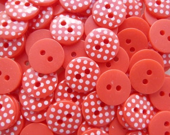 Red 10 x 12mm High Quality Polka Dot Buttons