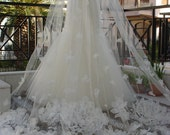 Reserved - Two Tier Cathedral Floral Sweet VEIL - NEW Design