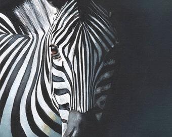 Zebra Painting - print of acrylic painting 5 by 7 print