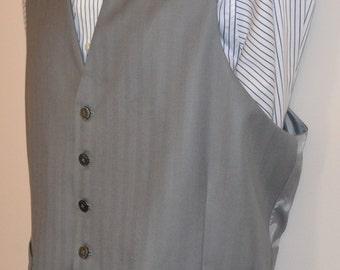 Mens vest, wool cashmere, 2 welt pockets, mens formal wear AC Ashworth & Co, handmade of Huddersfield cloth in USA