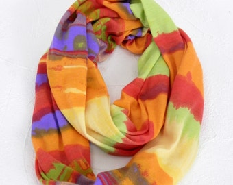 Infinity Scarf for Girls in Orange Lime Purple Red Striped Sunset Colors Jersey Knit Loop Scarf to Match Doll Scarf
