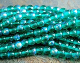 Emerald Green AB 4mm round druk beads  - 100 Czech Beads