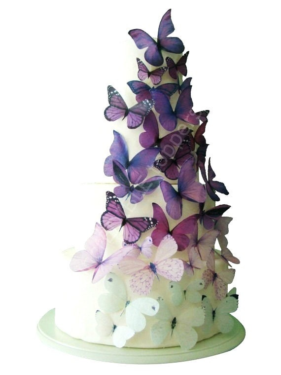 Wedding CAKE TOPPER - Edible Cake Topper, Ombre Edible Butterflies in Purple, Butterfly Cake, Cake Decorations, Cake Supply