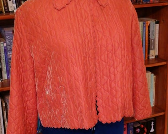 PILLOW TALK--Gorgeous 1950s Coral Pink Silk Velvet Bed Jacket-S,M