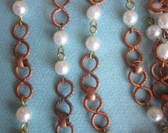 One And A Half Yards Japanese  Vintage Figure Eight  Metal  Chain With  Pearls