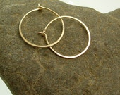 Skinny Gold Hoop Earrings, Three quarter inch Thin Hoops, Gold filled hoops, Small Hoops, Minimalist Hoop, Self-closure Hoops, Hoop Earrings