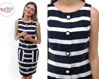 Vintage 80s Nautical Dress, Sailor Dress, Striped Dress, Nautical Shift Dress, Vintage 80s Dress Δ size: sm / md
