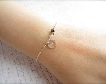 Initial Bracelet, Customized Bracelet, Personalized Jewelry, Swedish Jewelry, Crystal Jewelry, Bridal Party Gift, Scandinavian Jewelry