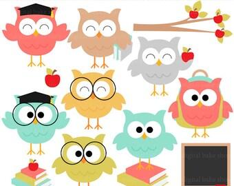 owl school clip art digital clipart - Owl School Digital Clipart