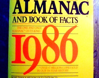Vintage 1986 World Almanac and Book of Facts, Top News Stories of 1985, Best Seller, More Than a Million Facts, Gift for Him, Christmas