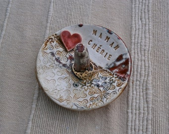 Personalised ring dish with heart - Made to order ring dish - customized ceramic jewelry holder