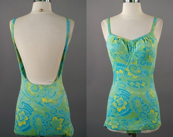 green with envy | vtg 60s swimsuit | 1960s vintage bathing suit | jantzen | medium