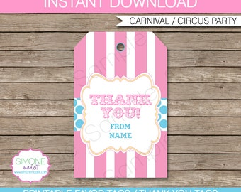 Circus Favor Tags or Thank You Tags - Carnival or Circus Party - Pink & Aqua - INSTANT DOWNLOAD with EDITABLE text - you personalize at home
