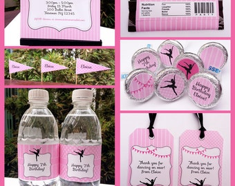 Ballerina Party Invitations & Decorations - full Printable Package - INSTANT DOWNLOAD with EDITABLE text - you personalize at home