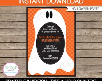Halloween Invitation Template - Ghost - INSTANT DOWNLOAD with EDITABLE text - you personalize at home