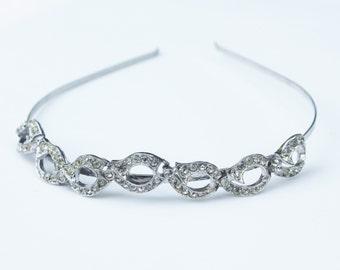 Rhinestone Silver Headband- Vintage, Wedding, Prom, Formal