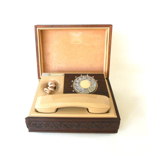 Rotary Dial Phone Deco Tel Decotel Telephone in Wood Box (as-is)