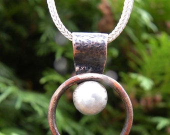 Sterling Silver and Copper Pendant Necklace