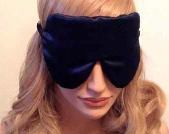 Silk Eye Mask Sleep Mask, Navy Blue Charmeuse, Fully Adjustable, Padded and Light Darkening for Sleep, For Sensitive Eyes, and Anti-Aging